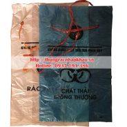 Túi bóng đựng rác thải y tế, bệnh viện có dây rút