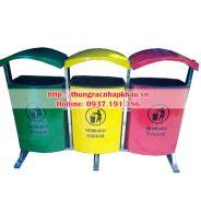 Thùng rác composite 80 lít treo ba, thùng rác treo ba 80Lx3
